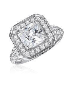 10K White Gold Princess Halo CZ Ring