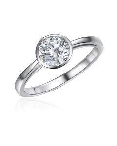 10K White Gold Bezel Solitaire CZ Ring