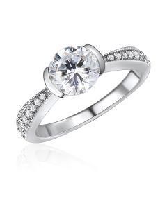 10K White Gold Half Bezel CZ Ring